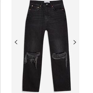 Topshop Washed Black Rip Dad Jeans